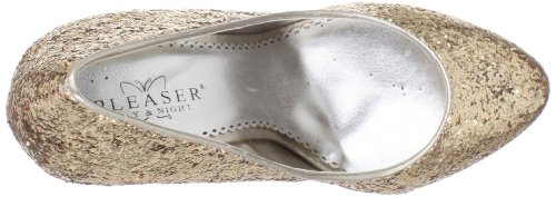 Pleaser Day & Night LUSTER-20 Damen Plateau Wedges Gold Glitter