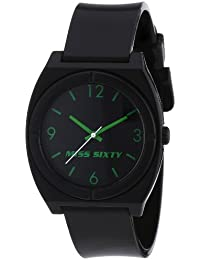 Miss Sixty STU002 - Reloj para niñas de cuarzo, correa de plástico color negro