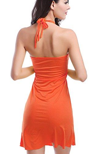 Sexy Neckholder rückenfreie Mini Strand Kleid für Damen Orange