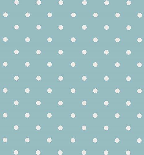 ecoSoul '1,4 m² Toile cirée Nappe Motif Pois Vintage Bleu Largeur 140 cm Couverture de Protection (au mètre)