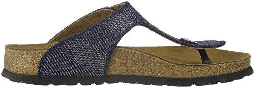 Birkenstock Damen Gizeh Textil Zehentrenner Blau (Metallic Knit Blue)