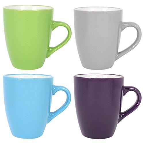 COM-FOUR 4x Kaffeebecher farbig, 350ml, Keramik, Kaffeetasse, Kaffeepott, blau, grau, dunkel-grün,...