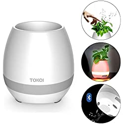 ZOESON Bluetooth Lautsprecher Wiederaufladbare Smart Music Blumentopf mit Bunten Atmenden Nachtlicht für Innen/Außen Büro Wohnkultur Festivel Geschenk (Weiß/Pflanzen Nicht Enthalten)