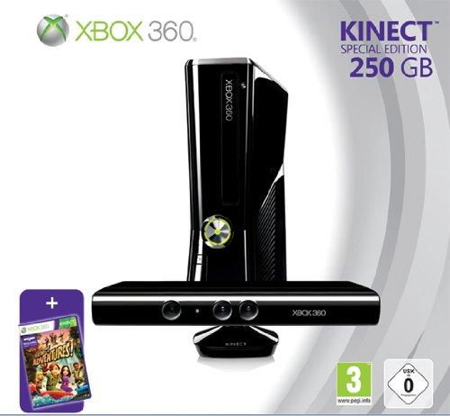 Foto Xbox 360 - Console Slim 250 GB con Sensore Kinect, Abbonamento Xbox Live Gold da 1 mese e Kinect Adventures [Bundle]