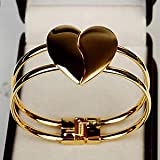 SLB Works Brand New Women Girl Simple Style Gold Tone Fashion Love Heart Bangle Cuff Bracelet