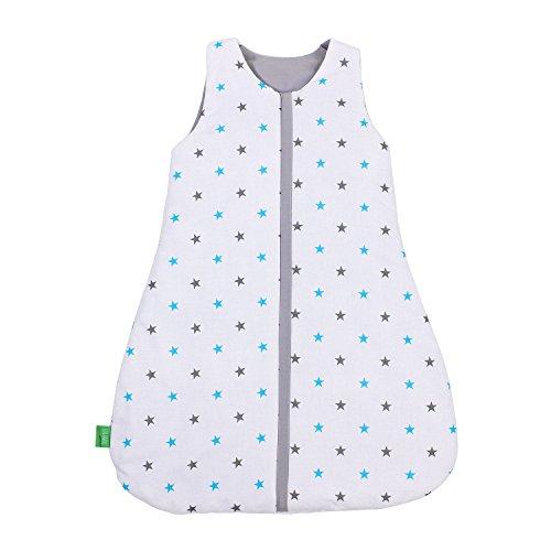 LULANDO Babyschlafsack für Neugeborene und Kleinkinder Sommerschlafsack und Winterschlafsack für Ihr Baby Farbe: Blue and Grey Stars / White, Größe:70 cm