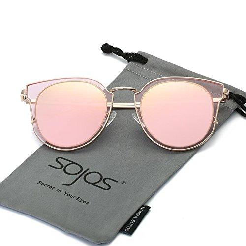 SOJOS Rond Vintage Double Circle Lens Miroir Lentilles Protection UV Polarized lunettes de soleil unisexe SJ1057