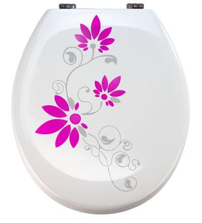 Grafix - Adhesivo decorativo para tapa de inodoro (vinilo), color gris y rosa