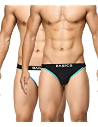 BASIICS by La Intimo Men's Black, White Thigh High Brief (Pack of 2)