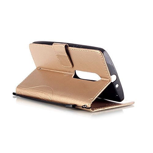 Custodia Cover per iPhone 4 4S 4G - Ycloud Portafoglio Tasca Book Folding Custodia In Pelle Con Supporto di Stand Cover Case Custodia Pelle Sollievo Farfalla Fiore Rose Red Gold