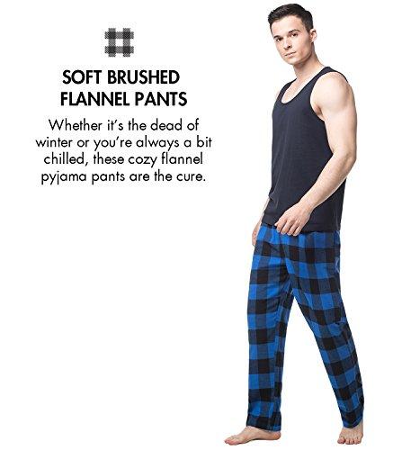 Lapasa Herren Schlafanzugshose gefärbt gewebte Flanell Pajamahose Sleep Lounge Pant M39 Schwarz-Blaues Plaid