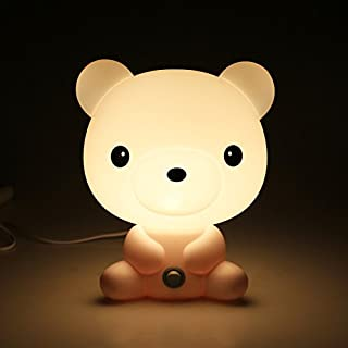 Sobotoo Children Night Light, LED Night Light Cute Silicone Bear Lamp,Kids Bedside Lights,Warm White,Night Lamp Lighting for Babyroom, Kids, Children's Room