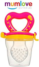 Krishnam Safety Fruit fliter Play with Nipple Feeder Baby Fruit Nipple Food Feeder BPA Free Heart Shape Handle Fishnet Filter Nipple & Dust Proof Feeder Cover (Yellow Pink)