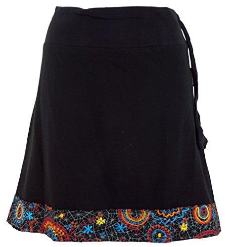 GURU-SHOP, Mini Falda con Dobladillo Bordado, Falda Boho Chic, Retro Mandala, Negro, Algodón, Tamaño:S/M (38), Faldas Cortas