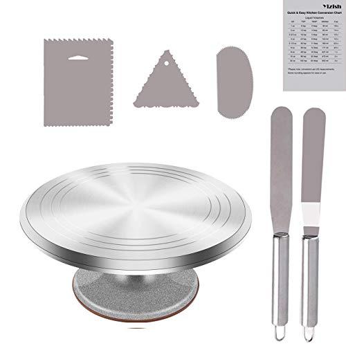 Tortenplatte Drehbar Aluminiumlegierung, Yizish 12-Zoll-Tortenständer Kuchen Drehteller mit Edelstahl-Glasurspatel (2 Stück) und Puderglätter (3 Stück) zum Backen, Kuchen dekorieren, Gebäck