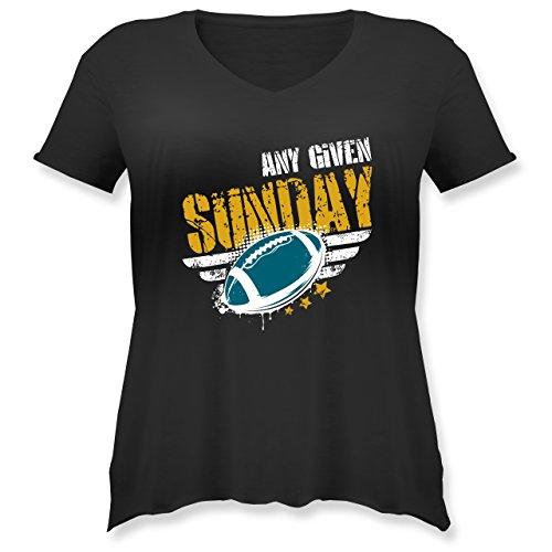 Shirtracer American Football - any Given Sunday Football Jacksonville - Weit Geschnittenes Damen Shirt in Großen Größen mit V-Ausschnitt Schwarz