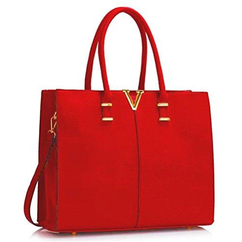 LeahWard® Damen Groß Mode Essener Berühmtheit Tragetaschen Damen Qualität Schnell verkaufend Modisch Handtaschen CWS00319B CWS00319C CWS00319 (Red/Burgundy V) (Handtasche Chloe Weiß)
