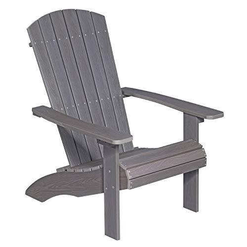 NEG Design Adirondack Stuhl MARCY (grau-braun) Westport-Chair/Sessel aus Polywood-Kunststoff (Holzoptik, wetterfest, UV- und farbbeständig)