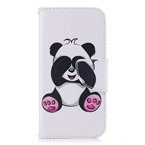 Trumpshop Smartphone Case Coque Housse Etui de Protection pour Apple iPhone 6 / iPhone 6s (4.7-Pouce) + Don't Touch My Phone (Ourson) + Mode Portefeuille PU Cuir Avec Fonction Support Panda Mignonne