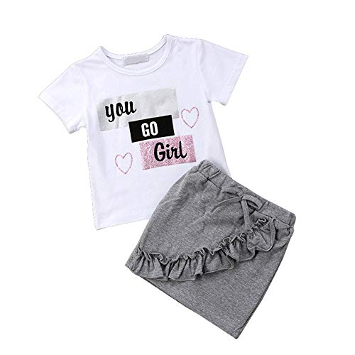 Gyratedream Sommer Baby Girl Casual Kurzarm Brief drucken T-Shirt Mini Solid Rock mit Bogen Baumwolle Outfits Set