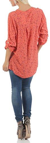 Malito Damen Bluse mit Blumen Print | Tunika mit ¾ Armen | Blusenshirt IM Vintage Look �?Shirt 6709 Coral