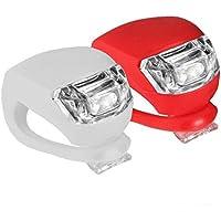 Takestop® - Kit de 2lampes, lumière sécurité avant arrière LED pour vélo, spot en silicone rouge blanc flash intermittent