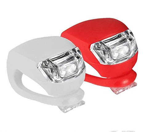 takestop® Kit 2 LUCI Luce Bici Sicurezza Anteriore Posteriore LED Bicicletta Bici FARETTO Silicone Rosso Bianco Lampeggiante INTERMITTENTE