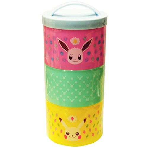 Pokemon Bottle Type Three Tier Lunch Box 480ml Pikachu & Eevee PMLC183