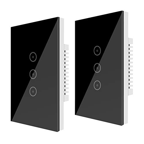 Wifi (2 Packs) Smart Light Switch 3 Gang Jinvoo US Panel Switch, Smart Touch Switch, Smart Phone Remote Tempered Glass Timer, Kein Hub erforderlich, kompatibel mit Alexa/Google Home, Schwarz (3 Gang)