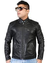 Caveliro Men's Black Slant Zip Pocket Faux Leather Biker Jacket