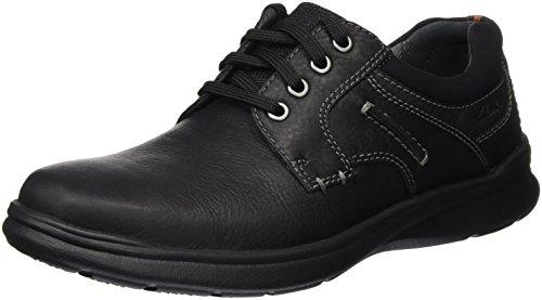 Clarks Herren Cotrell Plain Sneakers, Schwarz (Black Oily Lea), 44 EU