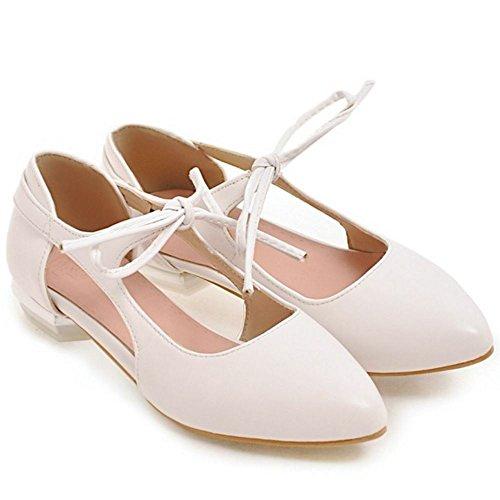 COOLCEPT Femme Mode Lacets Sandales Plat Talon bas Bout Ferme Chaussures Taille Beige