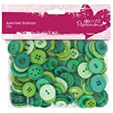 Large Value Assorted Plastic Craft Button Mix (250g) - Green (Papermania)