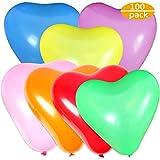CKANDAY 100er Pack Love Heart Shape Party-Luftballons, Starke Latex-Luftballons für Helium oder Luft, Geburtstagsfeier, Hochzeit, Vorschlag, Jubiläum, Halloween, Erntedankfest, Weihnachten - 10 Zoll