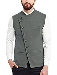 Hypernation Grey Cotton Waistcoat For Men