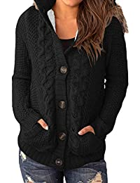Happy Sailed Womens Hooded Button Down Sweater Coat with Pockets