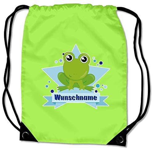 Samunshi® Turnbeutel mit Motiv Baby Frosch und Name für Jungen und Mädchen personalisierbar personalisiert mit Namen Sportbeutel für Schule Sport Sporttasche Lime grün
