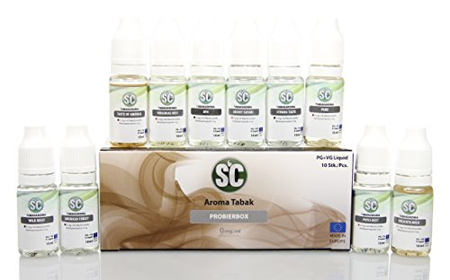 Tabak-Aromen Probierbox - E-Zigaretten Liquids - 10 verschiedene Sorten - nikotinfrei (0mg/ml)