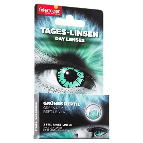 feiermeier® Kontaktlinsen (Tageslinsen) ohne Stärke (1 Paar = 2 Stk.) - für Halloween, Fasching & Co. (Grünes Reptil)