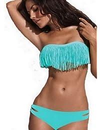 Y-BOA - Bikini à Frange/Trikini Push Up– Eté –Femme - Maillots de Bain 2 pièces– Plage – En Nylon et Spandex (L-Buste 36~38Inch, Bleu)