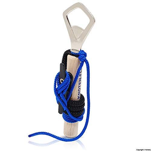 Knotenübungsgerät - Bootsführerschein Binnen Segeln - mit Klampe, Seilen und Anleitung - Knoten Lernen leicht gemacht (Schwarz/Blau mit Flaschenöffner)