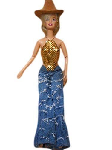 Größe Cowboy Cowgirl Hosen Outfit Set Barbie Sindy Puppen Zerrissene Jeans Goldkette Mail Top Stetson Arthut Puppe Nicht Enthalten Durch Fett Catz Copy (Cowgirl Cowboy Und Outfits)