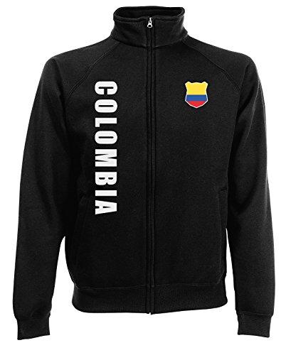 63e0cbc2253849 Kolumbien Colombia Sweatjacke Jacke Trikot Wunschname Wunschnummer  (Schwarz