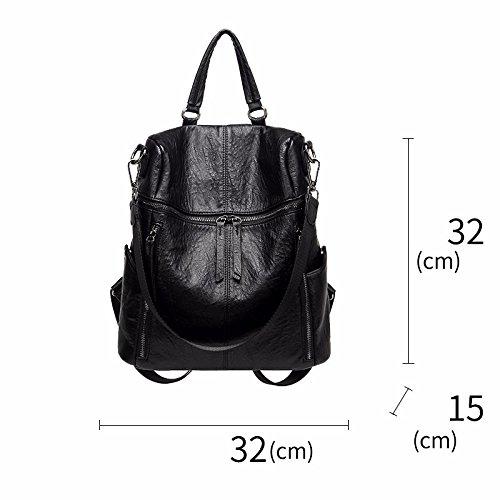 retro - abwaschbare leder freizeit einheitlichen schulter rucksack,schwarz schwarz