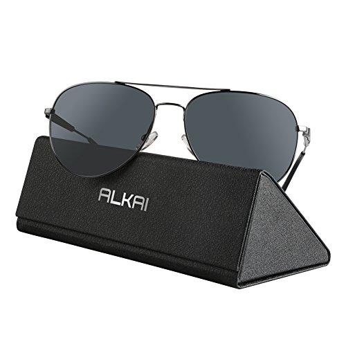 ALKAI Sonnenbrille klassische Sunglass für Herren/Damen/Jungen Schwarz-Silber