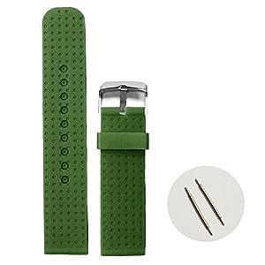 Alexis 22mm oscuro bosque verde suave silicona Jelly Goma correa de banda de reloj + herramienta de eliminación de barra de resorte marca China Mart Industrial Co
