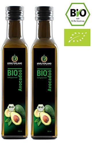 Kräuterland Bio Avocadoöl, kaltgepresst, 100% rein, nativ, vegan, 500ml, zum Braten und Grillen,...