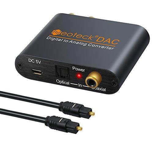 Neoteck DAC Conversor Digital SPDIF Coaxial Toslink a Analágico Estéreo RCA 3.5mm Jack Audio Convertidor con Cable Óptical Alimentación para PS3 Xbox HD PS4 Sky HD Plasma BLU-Ray Home Cine Sistema