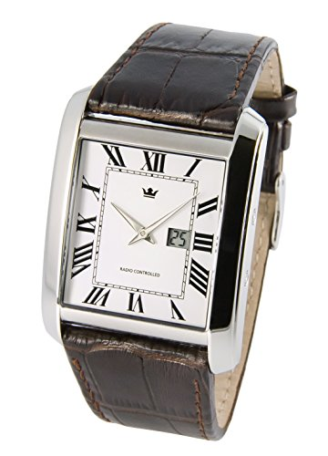 Elegant Marquis Men's Watch Junghans Movement) Brown Leather Bracelet with Stainless Steel Clasp and Stainless Steel Casing 964.4008