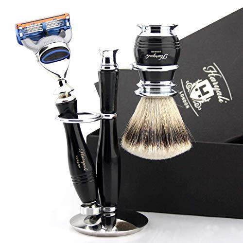 Premium Silberspitze Dachs Rasierpinsel & Gillette Fusion kompatibel Rasiermesser Luxus Griff - Nassrasur Kit für ihn - Geschenk-Set